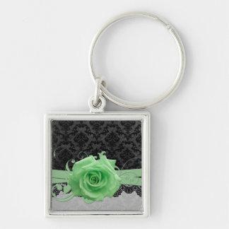 Lace Elegant Damask Green Rose Keychain Key Chains