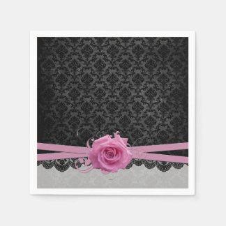 Lace Elegant Damask Pink Rose Napkins