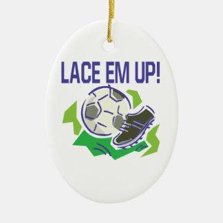 Lace Em Up Ceramic Ornament