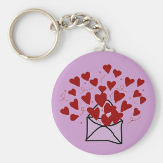 Lace envelope filled with hearts key chain