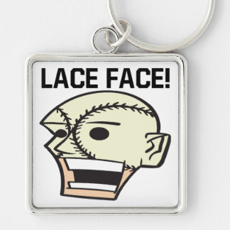 Lace Face Silver-Colored Square Keychain