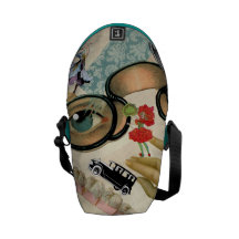 Lace Fan Spectacles and Flowers Courier Bag
