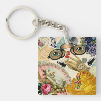Lace Fan Spectacles and Flowers Keychain