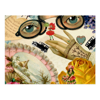 Lace Fan Spectacles and Flowers Postcard