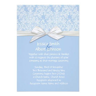 Lace Floral Blue&White Damask Wedding Invite
