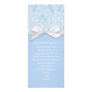 Lace Floral Blue&White Damask Wedding Menu Invites