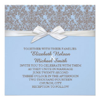 Lace Floral Brown&Blue Damask Wedding Invite