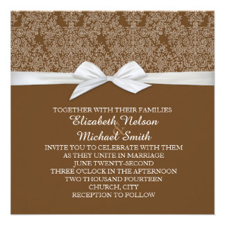 Lace Floral Brown Damask Wedding Invite