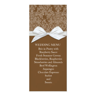 Lace Floral Brown Damask Wedding Menu Personalized Announcements