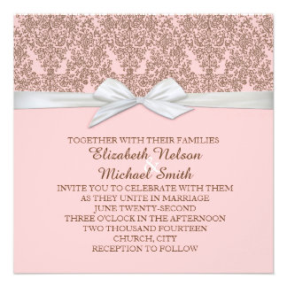 Lace Floral Brown&Pink Damask Wedding Invite