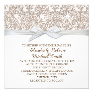 Lace Floral Brown&White Damask Wedding Invite