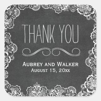 Lace Floral Chalkboard Wedding Favor Stickers