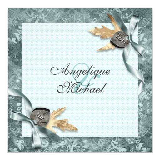 Lace floral fall wedding card