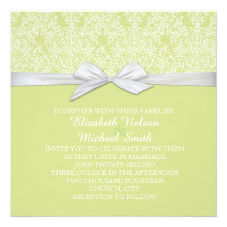 Lace Floral Green&White Damask Wedding Invite
