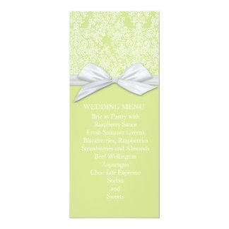 Lace Floral Green&White Damask Wedding Menu Custom Announcement