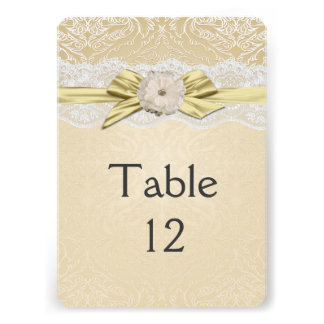 Lace Floral Ribbon Gold Damask Table card