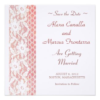 Lace Flowers Wedding Save the Date Card Invitation