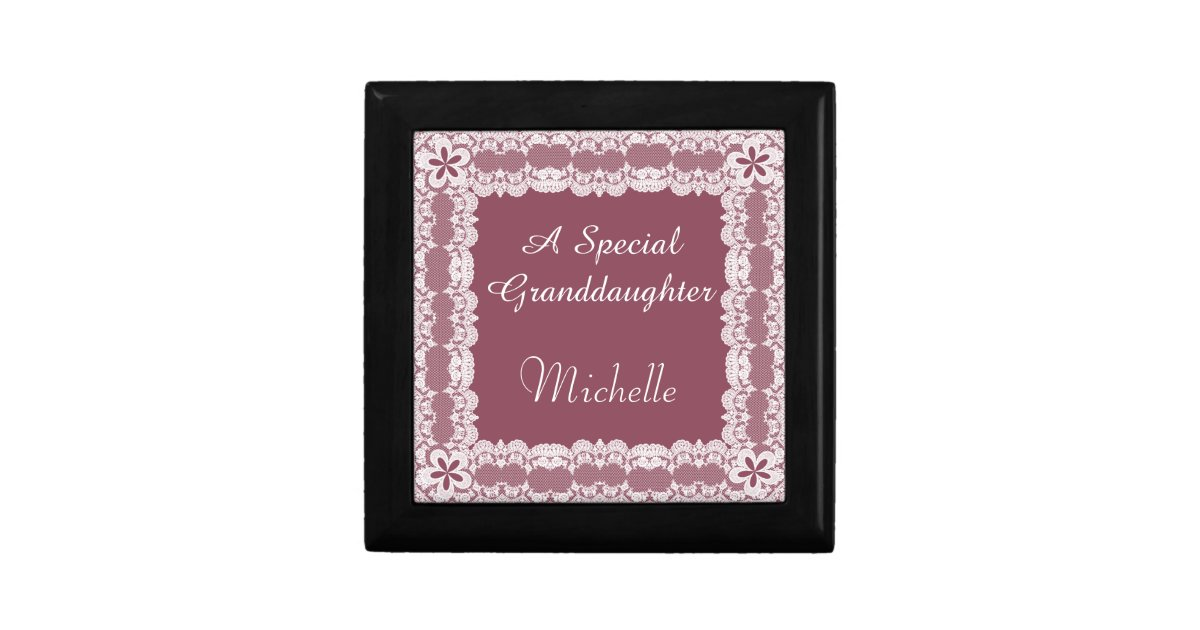 Lace Frame Granddaughter Personalized Gift Box Zazzle Com
