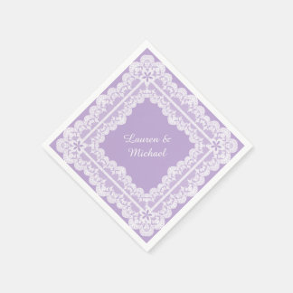 Lace Frame Lavender Orchid Wedding Paper Napkin