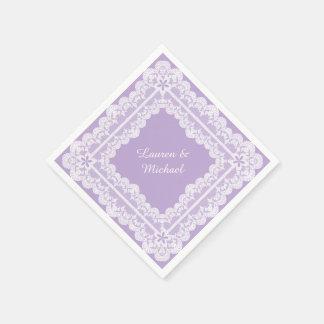 Lace Frame Lavender Orchid Wedding Paper Napkin