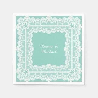 Lace Frame Mint Green Wedding Napkin