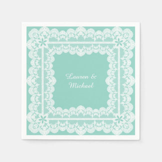 lace frame mint green wedding napkin