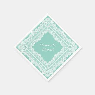 Lace Frame Mint Green Wedding Paper Napkin