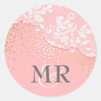 Lace Gold Confetti Glitz Pink Glamour Wedding Classic Round Sticker