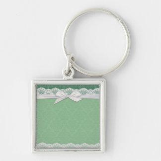Lace Green Damask Ribbon Keychain