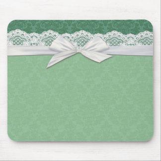 Lace Green Damask Ribbon Mousepad