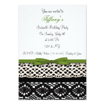 lace green damask Sweet Sixteen party Invitation