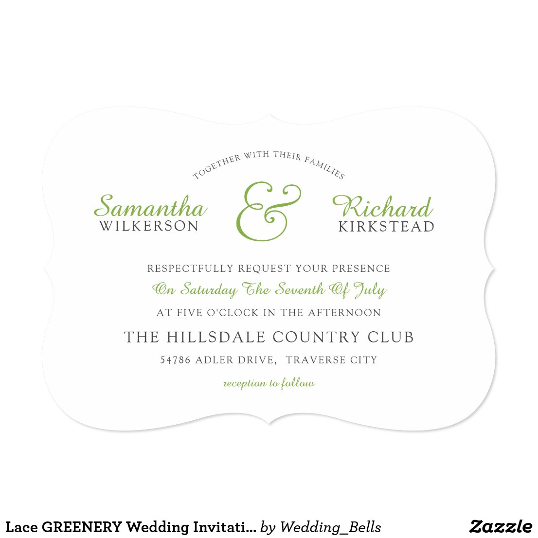 Modern Green and White Wedding Invitations with Lace