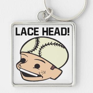 Lace Head Silver-Colored Square Keychain