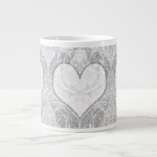 Lace Heart Add Text Giant Coffee Mug