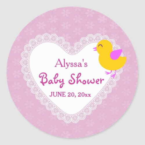 Lace Heart and Chick Baby Shower V01 PINK Classic Round Sticker