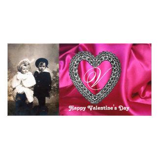 LACE HEART MONOGRAM SILK FUCHSIA CLOTH ,Pink Black Photo Cards