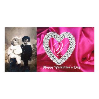 LACE HEART MONOGRAM SILK FUCHSIA CLOTH ,Pink White Card