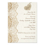 Lace & heart on burlap wedding couples shower personalized invitations