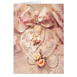 LACE HEART, ROSES & PEARLS by SHARON SHARPE Card