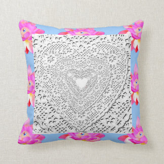 LACE HEARTS AND PINK LOTUS BLOSSOMS THROW PILLOW