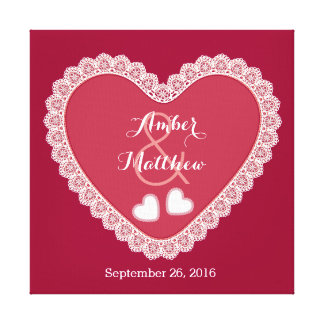 Lace Hearts Wedding Memento Hues of Red Canvas Print