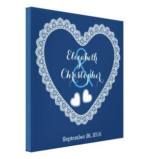 Lace Hearts Wedding Memento V01 BLUE Canvas Print