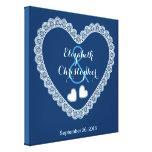 Lace Hearts Wedding Memento V01 BLUE Canvas Prints