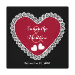 Lace Hearts Wedding Memento V06 Red Black Stretched Canvas Prints