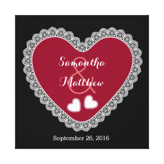 Lace Hearts Wedding Memento V06 Red Black Canvas Print