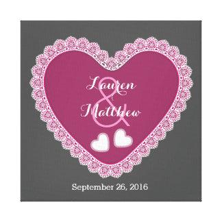 Lace Hearts Wedding Memento V11 Wine and Gray Canvas Print