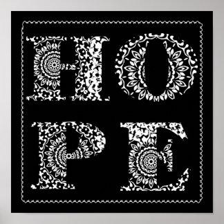 Lace Hope Word Art Black White Poster Print