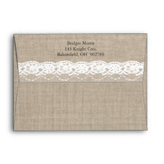 Lace in White on Burlap Envelope