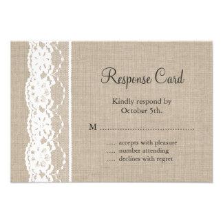 Lace in White on Burlap RSVP Custom Invitations