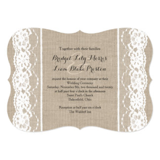 Lace in White on Burlap Wedding Invitation 2